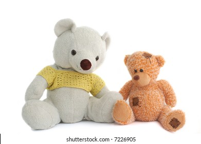 Toys (Two teddy bear) isolated on white background