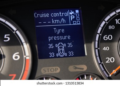 TPMS (tyre pressure monitoring system) monitoring display on a dashboard of a car
