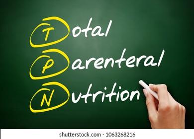 TPN - Total Parenteral Nutrition acronym, concept on blackboard