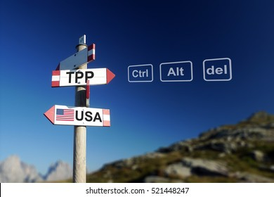 TPP and USA flags on signpost in mountains. Quit TPP concept.