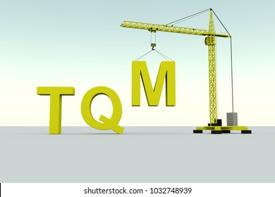 TQM building concept crane white background 3d illustration