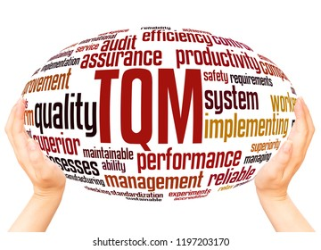 TQM - Total Quality Management, word cloud hand sphere concept on white background.