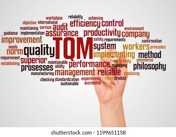 TQM - Total Quality Management, word cloud and hand with marker concept on white background.