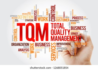 TQM - Total Quality Management word cloud with marker, business concept background