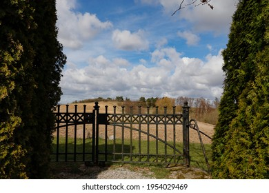 Tra, Sweden April 8, 2021 The Tra church garden cemetery and gate