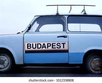 Trabant with sign on it with text Budapest
