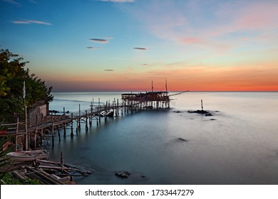 Trabocchi Coast, Chieti, Abruzzo, Italy: landscape of the Adriatic sea coast at dawn with a traditional Mediterranean fishing hut trabocco