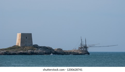 Trabucco La Punta, traditional wooden structure used for fishing, commonly found along the Adriatic coast between Peschici and Vieste.