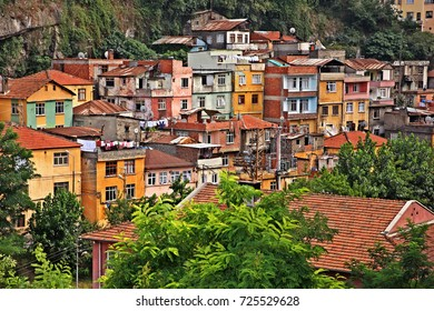 TRABZON CITY, TURKEY. Colorful neighborhood in the valley next to Comnenos castle, Trabzon city, Black sea region (Pontus), Turkey