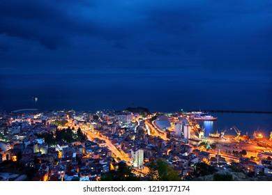 TRABZON CITY, TURKEY- July 23, 2010. Night view of Trabzon city, in the Black Sea region Turkey. Photo taken from Boztepe hill.