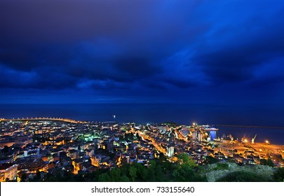 TRABZON CITY, TURKEY- July 23, 2010. Night view of Trabzon city, in the Black Sea region Turkey. Photo taken from Boztepe hill