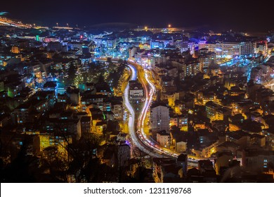 TRABZON CITY, TURKEY - Night view of Trabzon city, in the Black Sea region Turkey. Photo taken from Boztepe hill