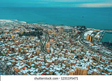 TRABZON CITY, TURKEY - snow view of Trabzon city, in the Black Sea region Turkey. Photo taken from Boztepe hill