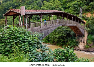 "TRABZON PROVINCE, TURKEY- July 25, 2010. The wooden, covered Hapsiyas Bridge (also known as ""Kiremitli Kopru""), Caykara, Black Sea region."