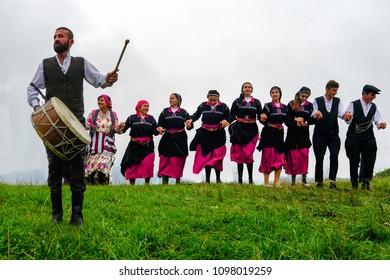 Trabzon / Turkey -  August 31 2017 : People celebrating the plateau festival doing folk dance around Tonya region in Turkey