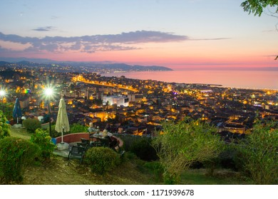 Trabzon, Turkey - August 6, 2018: Trabzon landscape beautiful sunset citycape view of Trabzon city, in the Black Sea region Turkey. Loves hill is best touristic destination of Trabzon.