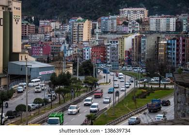 TRABZON, TURKEY - FEBRUARY 19: Road traffic in Trabzon, Turkey on February 19, 2013. Trabzon is a city in north-eastern Turkey with population 230,000.