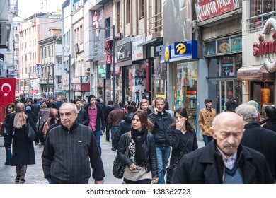 TRABZON, TURKEY - FEBRUARY 19: Unidentified people walk on a pedestrian zone in Trabzon, Turkey on February 19, 2013. Trabzon is a city in north-eastern Turkey with population 230,000.