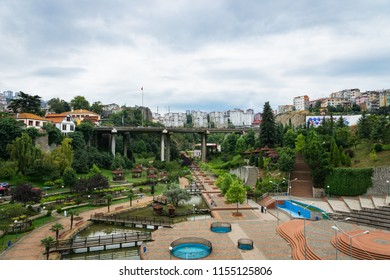 Trabzon, Turkey - June 2018: View of  Zagnos bridge & valley park in Trabzon city center, Turkey. Trabzon is a major port city by the Black Sea in Turkey.