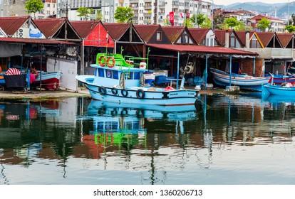 trabzon / Turkey May 16.2015: a major Black Sea port city of Trabzon on the shore of Fisher huts