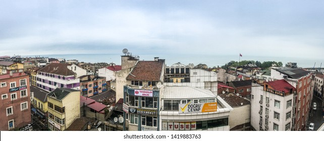 Trabzon, Turkey - May 7, 2017. Roof top view on turkish city Trabzon by Black Sea
