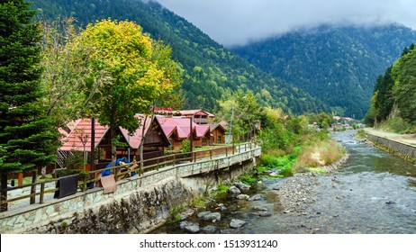 Trabzon, Turkey- October 9, 2018; Uzungol (Long Lake) area most beautiful tourist places in Turkey. The mountain valley with a trout lake and a small village in Trabzon,Turkey. Popular destination