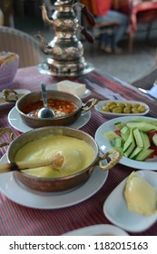 TRABZON, TURKEY - SEPTEMBER, 02, 2018:  Mainly Kuymak and Traditional turkish breakfast in The mosque of Hagia Sophia (Ayasofya) in Trabzon, Turkey.