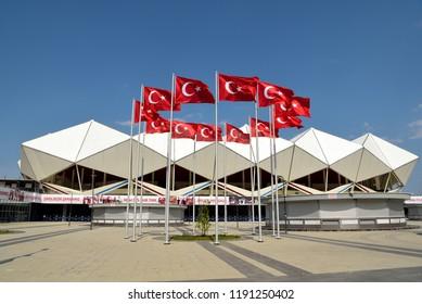 Trabzon, Turkey - September 6, 2018. Exterior view of Senol Gunes stadium in Trabzon, Turkey.