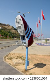 Trabzon, Turkey - September 6, 2018. Phone booth in the shape of football boot at Senol Gunes stadium in Trabzon, Turkey.
