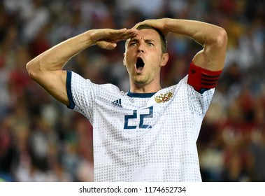 Trabzon, Turkey - September 7, 2018. Russian striker Artem Dzyuba celebrating his goal with military style greeting during UEFA Nations League match Turkey vs Russia in Trabzon.