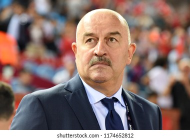Trabzon, Turkey - September 7, 2018. Russian national football team coach Stanislav Cherchesov during UEFA Nations League match Turkey vs Russia in Trabzon.