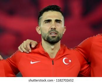 Trabzon, Turkey - September 7, 2018. Turkish defender  Hasan Ali Kaldirim before UEFA Nations League match Turkey vs Russia in Trabzon.