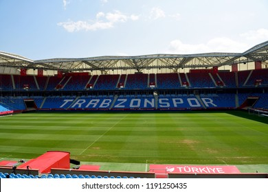 Trabzon, Turkey - September 7, 2018. View of pitch and stands of Senol Gunes stadium in Trabzon, Turkey.