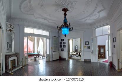 Trabzon, Turkey - September 7, 2018. Interior view of the lobby at Ataturk Mansion in Trabzon.