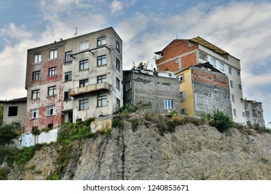 Trabzon, Turkey - September 8, 2018. Residential buildings on a cliff in Trabzon.
