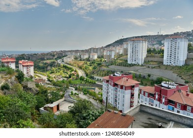Trabzon, Turkey - September 8, 2018. View over Trabzon, Turkey with Zagnos Vadisi park and residential buildings.