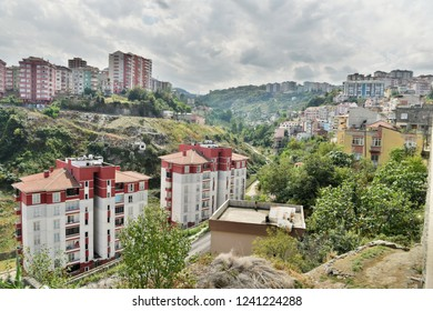 Trabzon, Turkey - September 8, 2018. View over Zagnos Vadisi valley in Trabzon, with residential buildings.