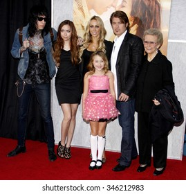 """Trace Cyrus, Brandi Cyrus, Noah Cyrus, Tish Cyrus, Billy Ray Cyrus and Loretta Finley at the World Premiere of """"The Last Song"""" held at the ArcLight Cinemas in Hollywood, USA on March 25, 2010."""