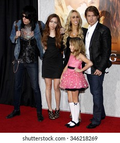 """Trace Cyrus, Brandi Cyrus, Noah Cyrus, Tish Cyrus and Billy Ray Cyrus at the World Premiere of """"The Last Song"""" held at the ArcLight Cinemas in Hollywood, USA on March 25, 2010."""