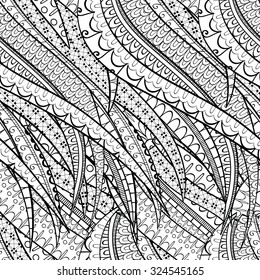 Tracery seamless calming pattern. Mehendi design. Neat even binary harmonious doodle texture. Silt algae, sea motif, tentacles. Ambitious, bracing, usable curved doodling mehndi.