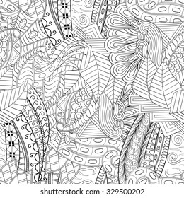 Tracery seamless calming pattern. Mehendi design. Neat even binary harmonious doodle texture. Algae sea motif. Indifferent discreet. Ambitious bracing usable, curved doodling mehndi.