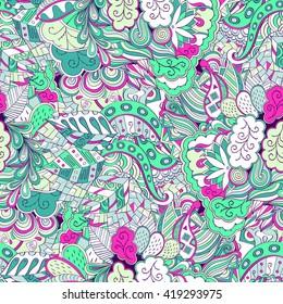 Tracery seamless calming pattern. Mehendi design. Ethnic blue green harmonious doodle texture. Indifferent discreet. Curved doodling mehndi motif.
