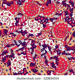 Tracery seamless calming pattern. Mehndi design. Ethnic colorful doodle texture. Curved doodling background.