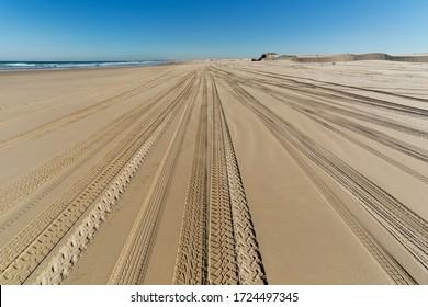 Traces Of Tires On Stockton Beach Near Anna Bay In Australia