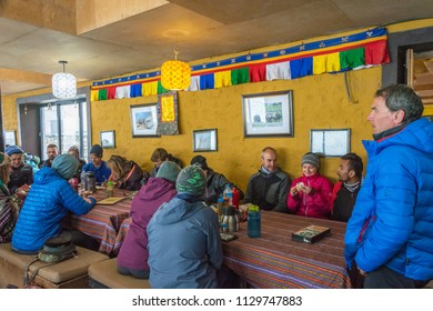 Track around Annapurna, Nepal-06.04.2018: in the base camp's cabins at the Thorong La pass on April 6, 2018 on the track around Annapurna, Nepal.