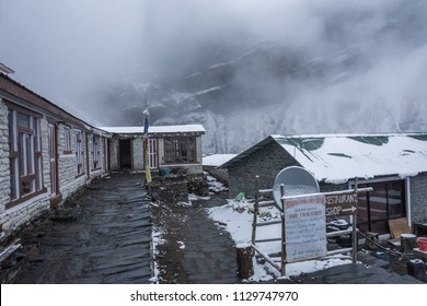 Track around Annapurna, Nepal-06.04.2018: a Cloudy evening at base camp at the Thorong La pass on April 6, 2018 at the track around Annapurna, Nepal.