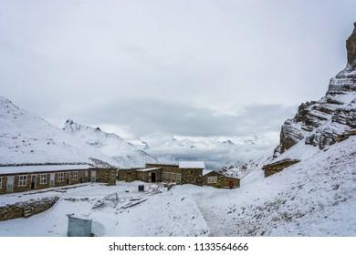 Track around Annapurna, Nepal-07.04.2018: at base camp at the Thorong La pass on April 7, 2018 at the track around Annapurna, Nepal.