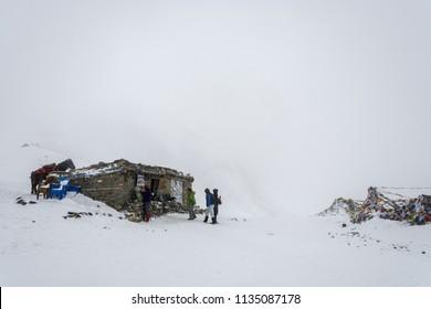 Track around Annapurna, Nepal-07.04.2018: on the snowy Thorong La pass on April 7, 2018 on the track around Annapurna, Nepal.