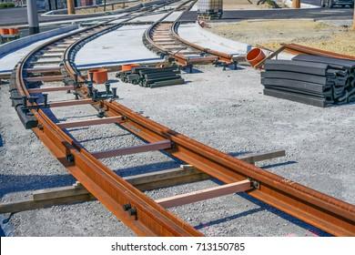 Track construction, tram rails, construction site