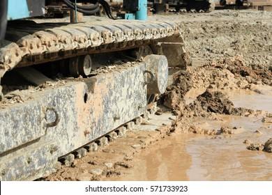 track crane on site construction